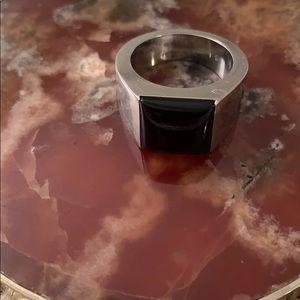 Cartier 18 karat white gold tank black onyx ring